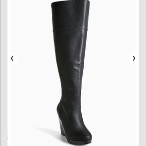 Black wide calf over the knee wedge boots